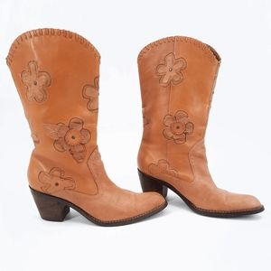Mia Candida 3D Flower Leather Western Boots 8.5